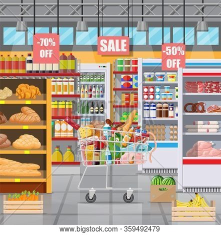 Supermarket Store Interior With Goods. Big Shopping Mall. Interior Store Inside. Checkout Counter, C