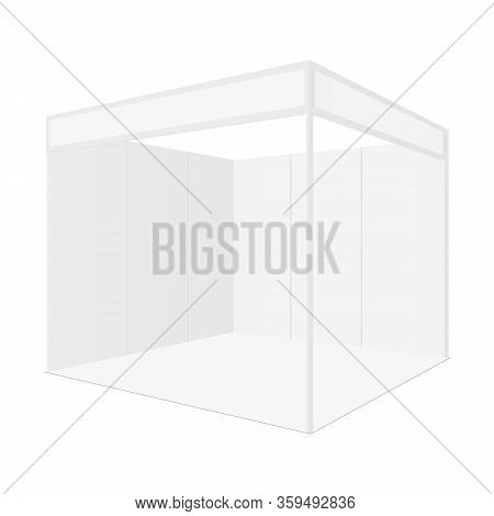 Blank Exhibition Booth For Show Fair Isolated On White Background. Vector Illustration