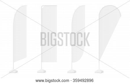 Set Of Advertising Vertical Flags Mockups Various Shapes Isolated On White Background. Vector Illust