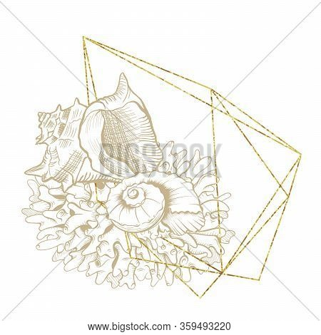 Seashell Sketch Etching In Gold Geometric Crystal Frame, Vector Wreath Design. Ocean Seashell And Co