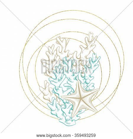 Seashell Sketch In Gold Geometric Crystal Circle Frame, Vector Arrangement Design. Ocean Seashell An
