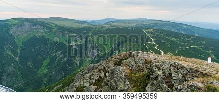 Evening Krkonose Mountains Scenery From Snezka Hill On Czech-polish Borders With Many Hills And Lucn