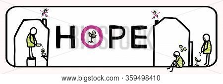 Plant A Seed Of Hope Corona Virus Motivation Banner. Social Media Covid 19 Infographic. Stay Positiv