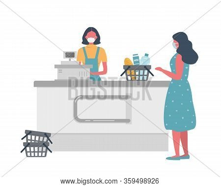Supermarket Cashier Web Banner During Coronovirus Epidemic. Young Woman In A Medical Mask Stands Beh