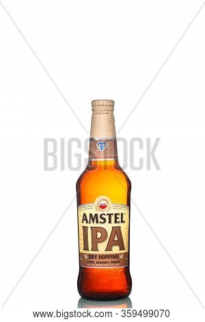 St. Petersburg, Russia, March 30, 2020. Amstel Ipa Beer, Glass Bottle, Isolated On White Background,