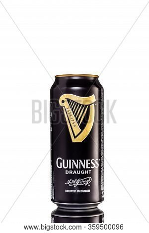 St. Petersburg, Russia, February 29, 2020. Guinness Draught In Tin Beer, On White Isolated Backgroun
