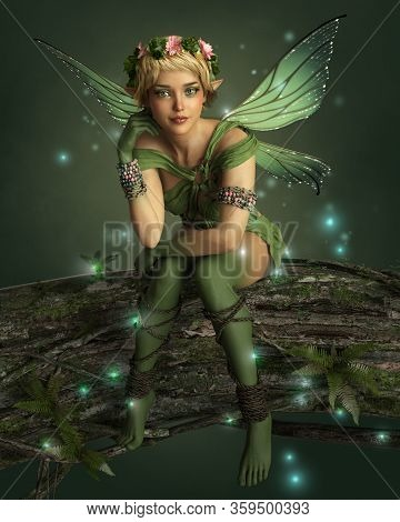 3d Computer Graphics Of A Cheeky Fairy With Wings, Wreath And Fireflies