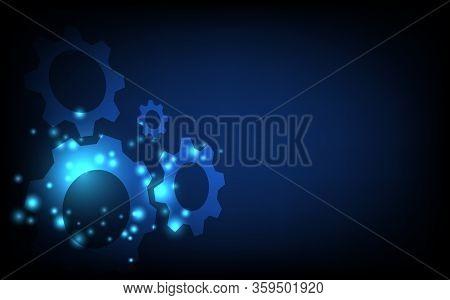 Cogs And Gear Wheel Mechanisms. Hi-tech Digital Technologyconcept, Futuristic Digital Innovation Bac