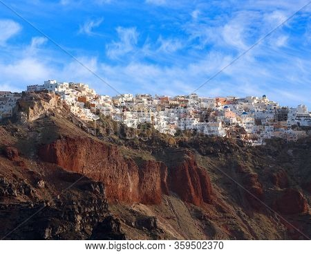 Panoramic View Of Santorini Island, Cyclades, Greece. Traditional Famous White Houses And Churches O