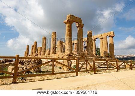Temple Of Juno (tempio Di Giunone) In Valley Of The Temples (valle Dei Templi) Near Agrigento, Sicil