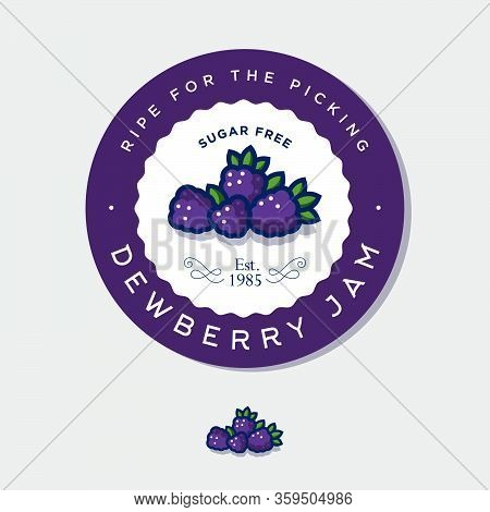 Label For Dewberry, Jam. Round Sticker For Jar With Berries, Leaves And Letters In A Circle. Origina