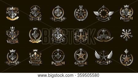 Classic Style Stars Emblems Big Set, Ancient Heraldic Symbols Awards And Labels Collection, Classica