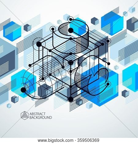Abstract Creative Geometric Art With A Variety Of Geometric Elements Blue Background, Vector Illustr