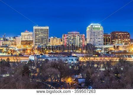 Colorado Springs, Colorado, USA downtown city skyline at night.