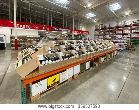 Ailse In A Costco Store Different Wine Products. Costco Wholesale Corporation Is The Largest Members