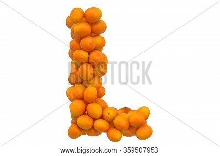 Letter L From Oranges, 3d Rendering Isolated On  White Background
