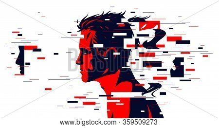 Man Profile With Glitch Dynamic Particles In Motion Vector Illustration, Mindfulness Philosophical A
