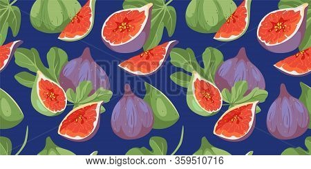 Tropical Summer Fruits Seamless Pattern. Fig Tree Cover With Leaves And Fruits In Hand Drawn Style.