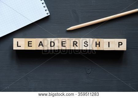 Modern Business Buzzword - Leadership. Top View On Wooden Table With Blocks. Top View. Close Up.