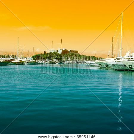 The harbor Antibes yachts on sea France poster