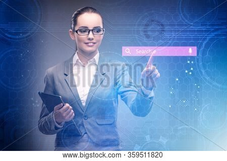 Search concept with businessman pressing button