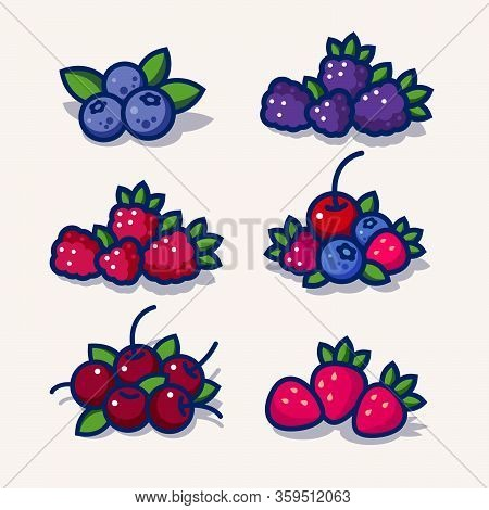 Set Of Illustrations For Packaging. Berries With Leaves. Blueberry, Black Berry, Raspberry, Mix Of D