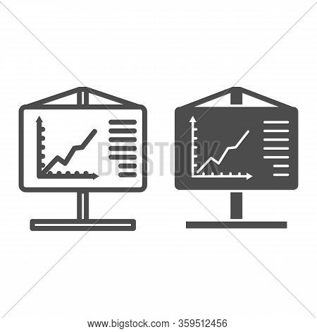 Flipchart Line And Glyph Icon. Visual Aid Presentation And Chart Board Symbol, Outline Style Pictogr