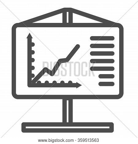 Flipchart Line Icon. Visual Aid Presentation And Chart Board Symbol, Outline Style Pictogram On Whit
