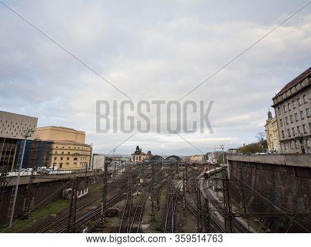 Panorama Of The Entrance To Main Hall Of Prague Main Train Station, Praha Hlavni Nadrazi, With Platf