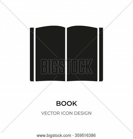 Black Open Book Icon. Modern Sign Logo For Encyclopedia, Library, Learning, E-reader, Audiobook. Pic