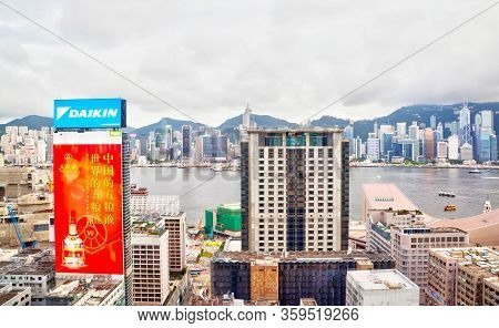 Hong Kong, Hong Kong Sar - July 7, 2017: Kowloon Skyline At Tsim Sha Tsui Overlooking Victoria Harbo
