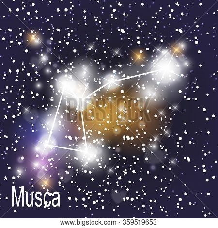 Musca Constellation With Beautiful Bright Stars On The Background Of Cosmic Sky  Illustration