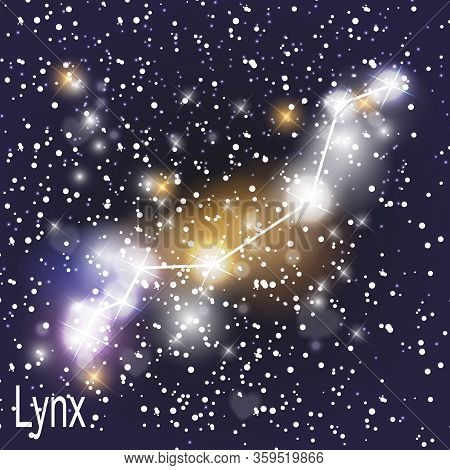 Lynx Constellation With Beautiful Bright Stars On The Background Of Cosmic Sky  Illustration