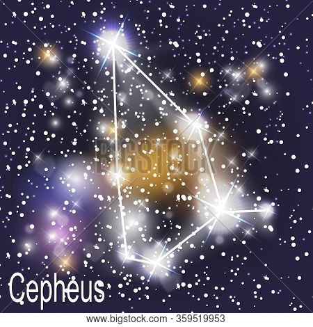 Cepheus Constellation With Beautiful Bright Stars On The Background Of Cosmic Sky  Illustration