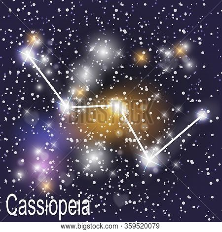 Cassiopeia Constellation With Beautiful Bright Stars On The Background Of Cosmic Sky  Illustration