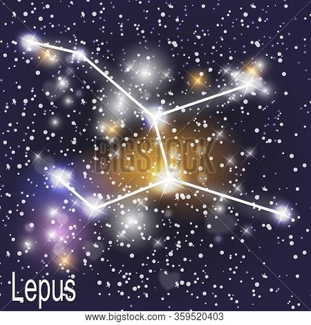 Lepus Constellation With Beautiful Bright Stars On The Background Of Cosmic Sky  Illustration