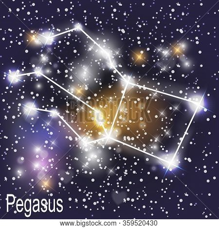 Pegasus Constellation With Beautiful Bright Stars On The Background Of Cosmic Sky  Illustration