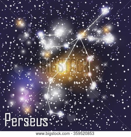 Perseus Constellation With Beautiful Bright Stars On The Background Of Cosmic Sky  Illustration