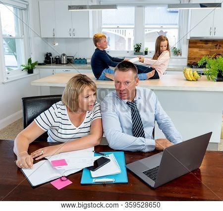 Children Fighting And Parents In Distress Over Home Finances. Covid-19 Shutdown Economic Recession