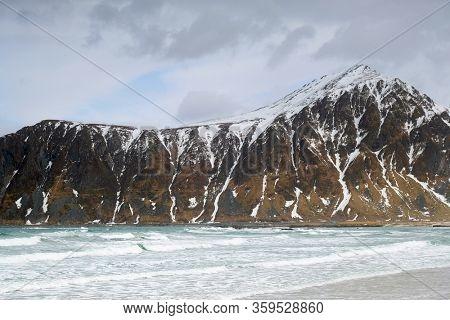 Winter landscape of Flakstag Beach, Lofoten, Norway, Europe