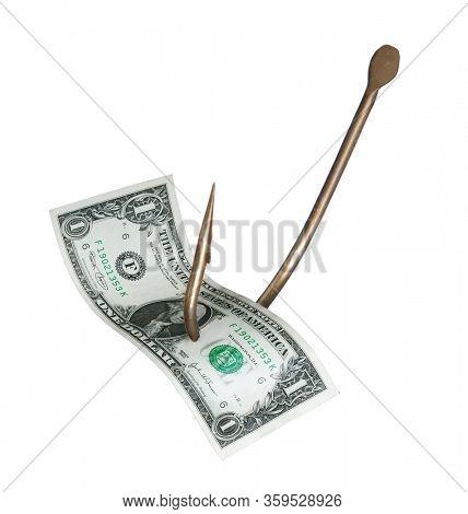 Dollar bill bait on fisher hook concept on white background,