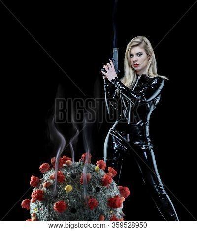 Futuristic police woman kill the coronavirus molecule with a hand gun