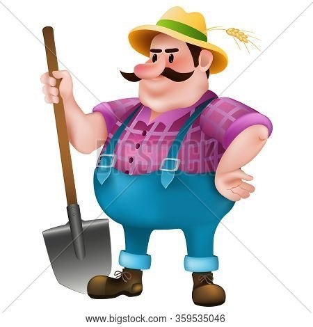 Cartoon Fat Farmer With A Shovel On White Background. Isolated Vector Illustration