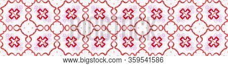 Pink Red Seamless Border Scroll. Geometric Watercolor Frame. Appealing Seamless Pattern. Medallion R