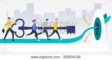 Business People Carrying Key To Unlock Keyhole. Target, Goal, Team Concept. Vector Illustration Can