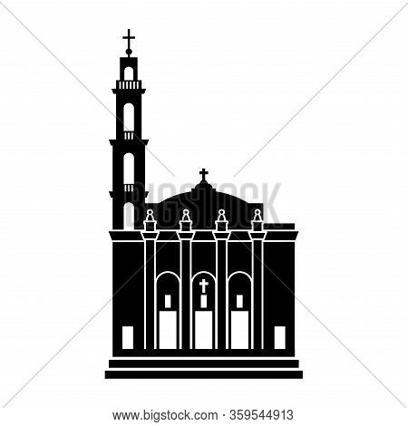 Detailed Black Silhouette Of Shrine Of Christ The King Sovereign Priest In Chicago (illinois, United