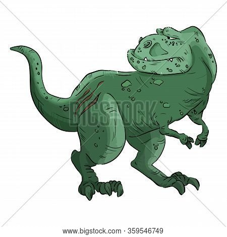 Cartoon Dinosaur Image. Cartoon Image Of An Old Cute Comic Style T-rex Dinosaur. Tyrannosaurus Rex D