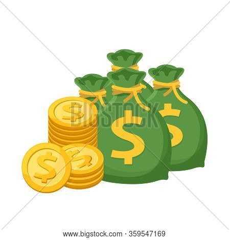 Pile Medal Dollar And Money Bag Isolated On White Background, Money Bag And Dollar Coin Gold Icon, S