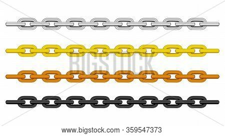 Silver Chain, Gold Chain, Copper Metal Chain And Black Steel Chains Set Isolated On Black Background