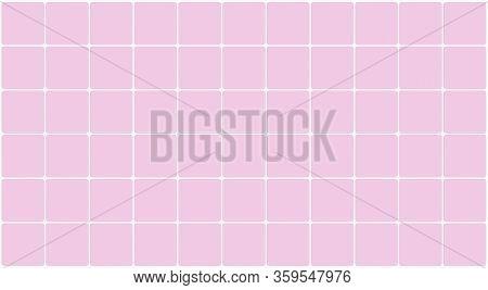Wall Tile Ceramic For Architecture Background, Tiled Floor Bathroom Pink Pastel Color, Illustration